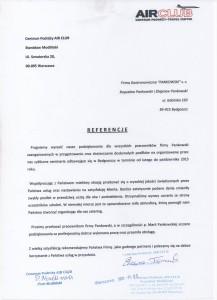 AIRCLUB Referencje Pankowski Catering