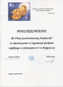 Gimnazjum nr 3 w Bydgoszczy Referencje Pankowski Catering