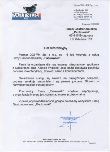 Partner XXI - PIK Sp. z o.o. Referencje Pankowski Catering
